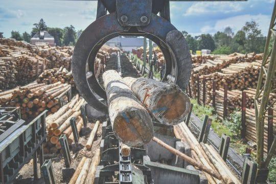 Holzverladung mit dem Kran bei GELO